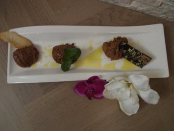 Geminzte Mousse au Chocolat mit Olivenöl, Salz und Brotchips - Rezept
