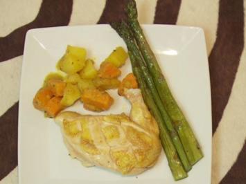 Hühnerbrust, marokkanische Kartoffeln und gegrillter grüner Spargel (Claudia Effenberg) - Rezept