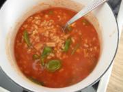 Vegan : Reis - Tomatensuppe mit veganem Leberkäse - Rezept