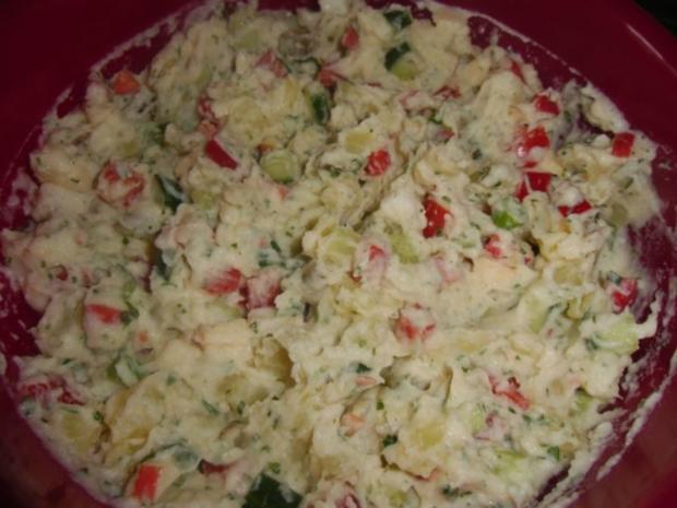 Vegetarischer Kartoffelsalat mit Schnitzelstreifen im Ausbackteig - Rezept - Bild Nr. 7