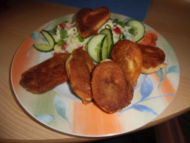 Vegetarischer Kartoffelsalat mit Schnitzelstreifen im Ausbackteig - Rezept - Bild Nr. 13