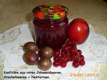 Konfitüre aus roten Johannisbeeren,Stachelbeeren+Nektarinen - Rezept