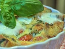 Baguette-Tomaten-Auflauf mit Parmesan-Guss - Rezept