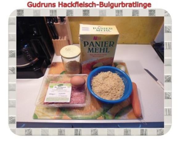 Hackfleisch: Bulgur-Hackfleisch-Bratlinge mit gedämpften Gemüse - Rezept - Bild Nr. 4