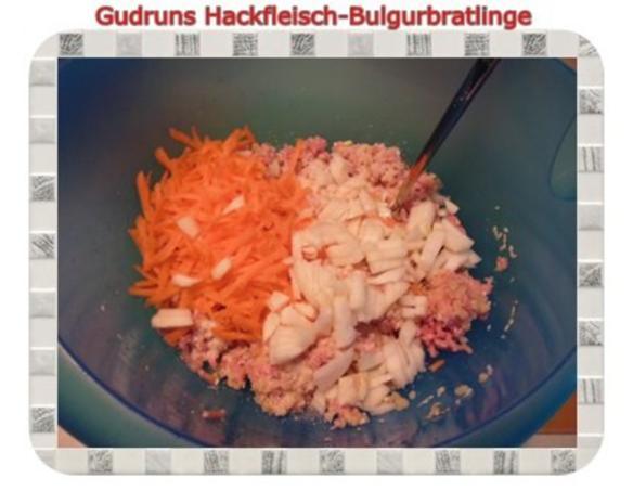 Hackfleisch: Bulgur-Hackfleisch-Bratlinge mit gedämpften Gemüse - Rezept - Bild Nr. 6