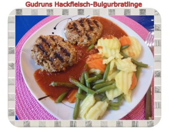 Hackfleisch: Bulgur-Hackfleisch-Bratlinge mit gedämpften Gemüse - Rezept