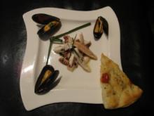 Oktopus-Salat mit Miesmuscheln, mit einem hausgemachten Focaccia - Rezept