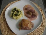 Mit Feigen & Ziegenkäse gefüllte Entenbrust an Kräuter-Kartoffelschnee und Schalotten - Rezept