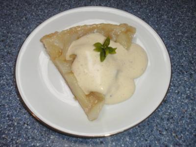 Birnentarte mit Vanille-Weinschaumsoße - Rezept