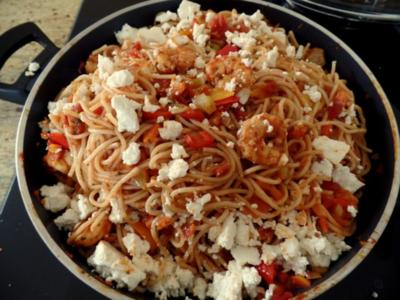 Spaghetti-Gemüse-Garnelen-Pfanne - Rezept