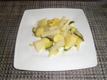 Kohlrabi-Zucchinipfanne an Birnen - Rezept