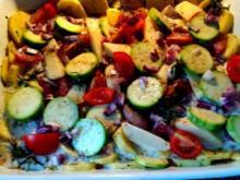 Saftiges Hähnchenbrustfilet m. mediterranem Gemüse und fruchtiger Sauce - Rezept