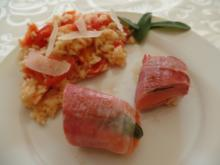 Fisch-Saltimbocca mit Tomatenreis - Rezept