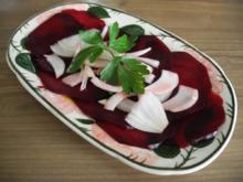 Vegan : Rote Bete Carpaccio mit Zwiebeln - Rezept