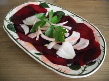 Rezept: Vegan : Rote Bete Carpaccio mit Zwiebeln
