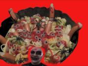 Würmersalat aus Nudeln für Helloween, Party, Überaschung, Karneval - Rezept