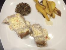 Little bit hot and spicy: mit Schafskäse überbackenes Schweinefilet auf Zitronenkartoffeln - Rezept