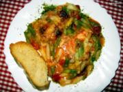 Kabeljau, Tomate, zweierlei Spargel und Käse - Rezept