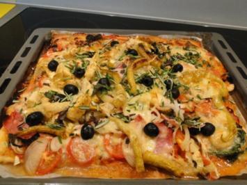 Rezept: Traumpizza mit allen Köstlichkeiten die ich mag. Bitte durchlesen