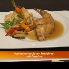 Rezept: Kaninchenkeule am Nudelnest