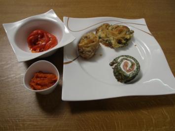 Rezept: Traditionelle Pita mit Paprika-Salat und kleiner Lachsrolle