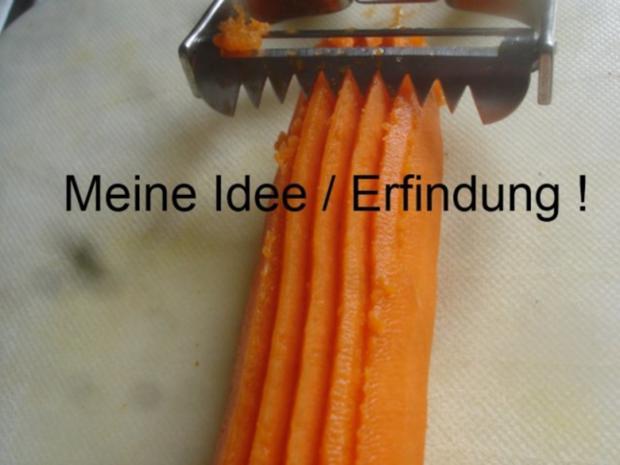 Hackfleischklopse mit Sauce, Möhren-Zucchini-Kartoffel-Stampf und Möhrenblütengemüse - Rezept - Bild Nr. 11
