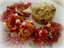 Auberginen-Feta-Bulgur-Röllchen mit Tomatensauce überbacken; vegetarisch - Rezept