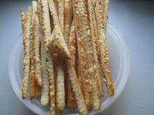 Käsestangen aus selbstgemachtem Quarkblätterteig - Rezept