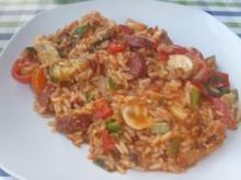 Reispfanne mit frischem Gemüse und Sucuk - Rezept