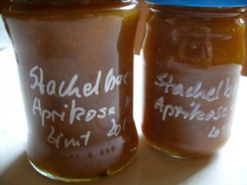 Konfitüre & Co: Stachelbeer - Aprikose mit Zimt 2014 - Rezept