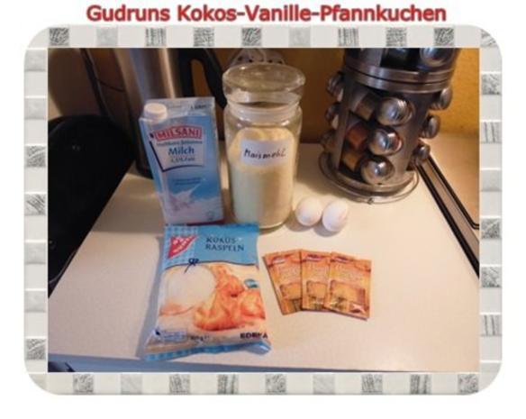 Kuchen: Kokos-Vanille-Pfannkuchen mit Honig und Erdbeermarmelade - Rezept - Bild Nr. 2