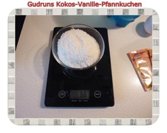 Kuchen: Kokos-Vanille-Pfannkuchen mit Honig und Erdbeermarmelade - Rezept - Bild Nr. 3