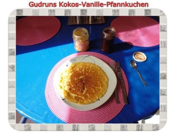 Kuchen: Kokos-Vanille-Pfannkuchen mit Honig und Erdbeermarmelade - Rezept - Bild Nr. 11