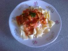 Pasta in fischiger Tomatensoße - Rezept