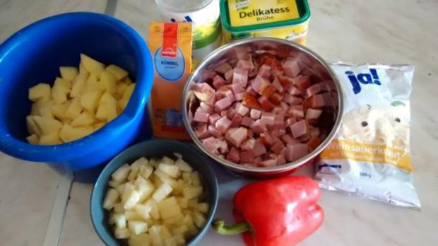 Sauerkrautpfanne mit Kassler, Ananas u.Paprika - Rezept - Bild Nr. 2
