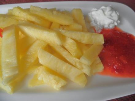 """""""Pommes mit Ketchup und Mayo""""  ... oder wie bekommt man Kinder zum Obst essen ... ;-) - Rezept"""