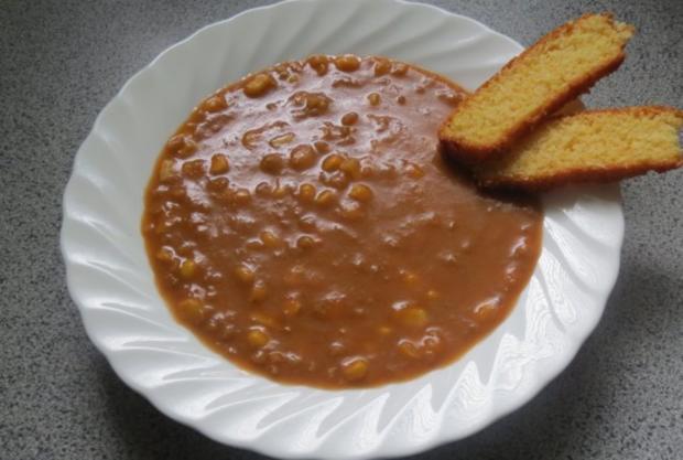 Kochen: Auberginensuppe mit Linsen und Mais - Rezept