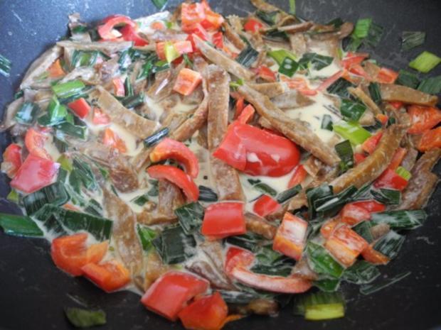 Vegan : Seitan - Pfanne mit Dreierlei-Beilage - Rezept - Bild Nr. 13