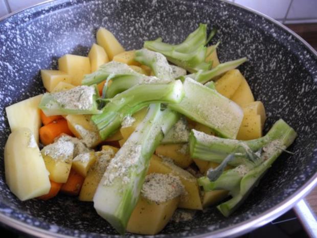 Vegan : Seitan - Pfanne mit Dreierlei-Beilage - Rezept - Bild Nr. 15
