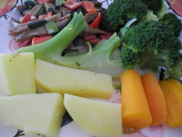 Vegan : Seitan - Pfanne mit Dreierlei-Beilage - Rezept - Bild Nr. 20