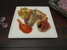 Churrasco rebozado mit Grillgemüse und gebackenen Kartoffeln - Rezept