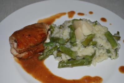 Rezept: Hähnchen-Saltimbocca mit Spargel-Risotto