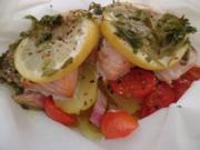 Lachs al cartoccio (heißt in der Kartusche oder Päckchen ) - Rezept