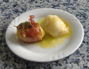 Bacalao mit Knoblauch und Schinkenkartoffeln - Rezept
