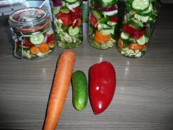 Rezept: Einmachzeit hat begonnen. Gurken & Gemüse süß - sauer.