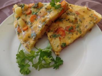 Erdäpfel -Möhren -Eier-Kuchen - Rezept