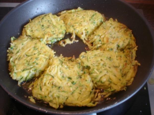 Gemüse-Puffer mit Tomaten-Schnittlauch-Quark - Rezept - Bild Nr. 10