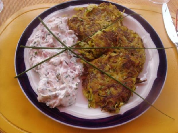 Gemüse-Puffer mit Tomaten-Schnittlauch-Quark - Rezept - Bild Nr. 13