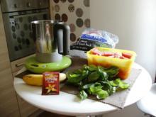 Melone-Banane-Basilikum Smoothy - Rezept
