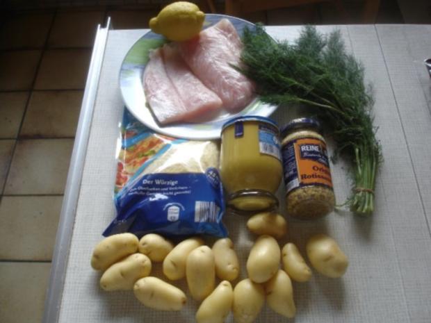 Victoriasee-Barsch-Filet mit Kräuterkruste, Rosmarinkartoffeln und gemischten Salat - Rezept - Bild Nr. 2